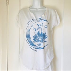 Lucky Brand White Blue Lotus Flower Notched Tee